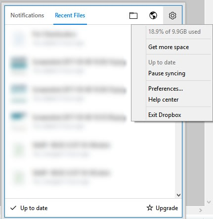 Accessing Dropbox Preferences