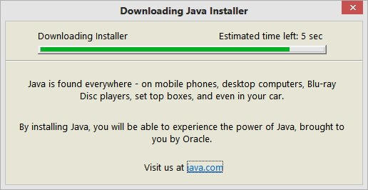 Java Installation Files are downloading