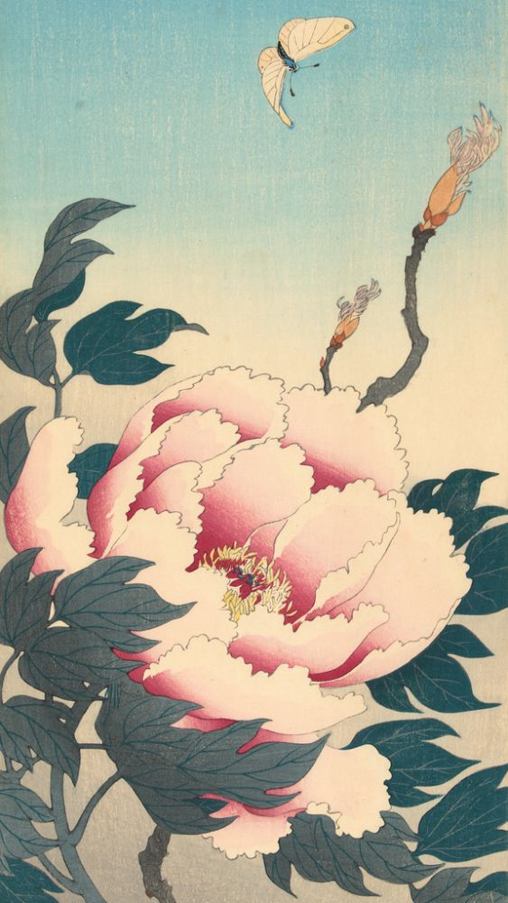 Peonies with Butterfly by Ohara Koson