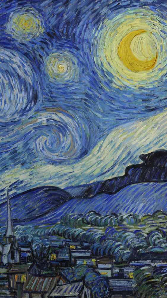 The Starry Night (vertical detail) by Vincent van Gogh