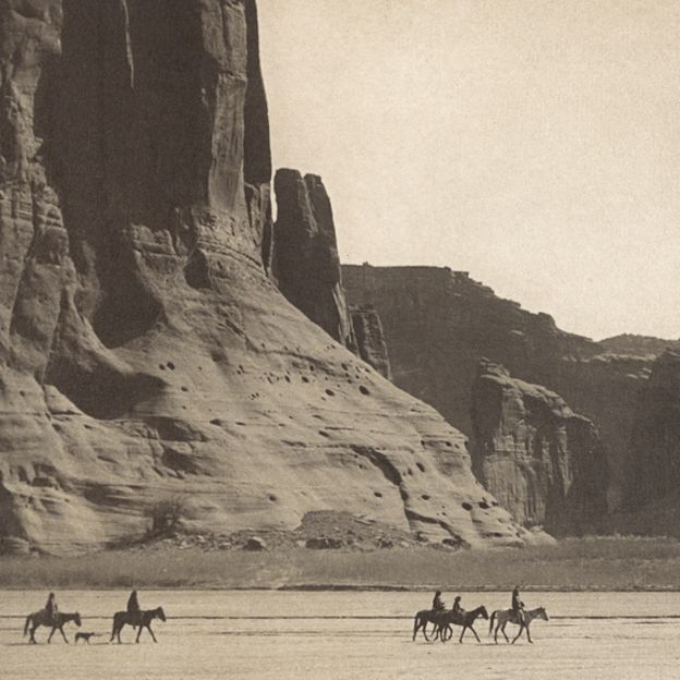 Navajo riders in Canyon de Chelly by Edward S.  Curtis