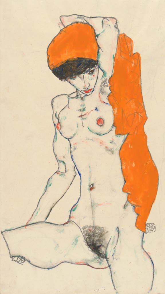 Standing Nude with Orange Drapery by Egon Schiele