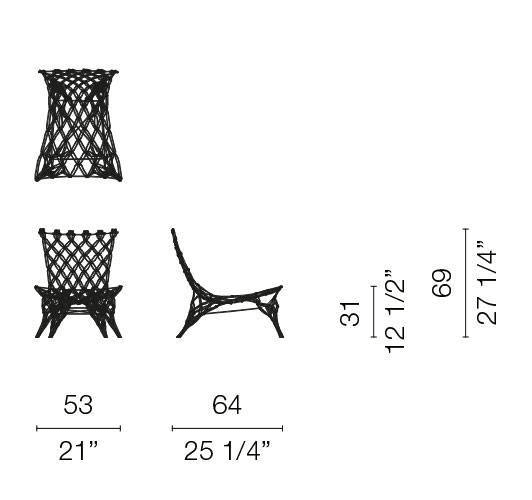 cappellini knotted chair armchair dimensions