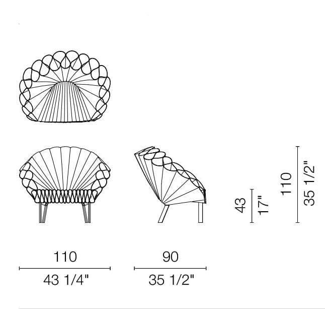 cappellini peacock armchair dimensions
