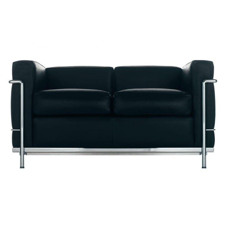 Cassina LC2 Sofa 2 Seat Chrome