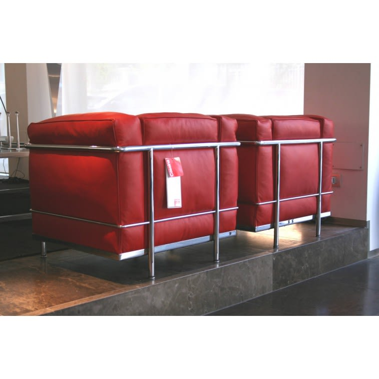 LC2 Red Leather Armchair-Armchair-Cassina-Charlotte Perriand Jeanneret Le Corbusier