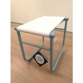 LC9 stool azure - beige leather-Stool-Cassina-Charlotte Perriand Jeanneret Le Corbusier