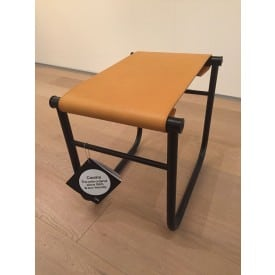 LC9 stool black - cognac leather -Stool-Cassina-Charlotte Perriand Jeanneret Le Corbusier