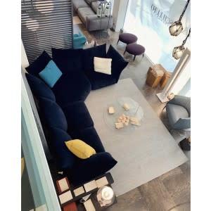 edra standard blue angular velvet sofa