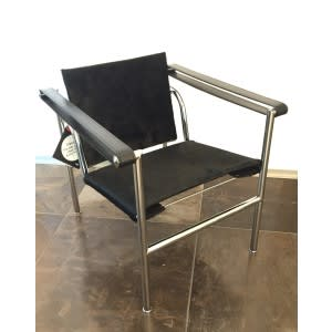 cassina lc1 armchair black ponyskin