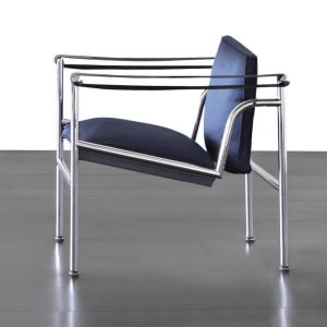 LC1 Villa Church Blue satin-Armchair-Cassina-Charlotte Perriand Jeanneret Le Corbusier