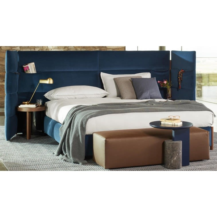 cassina bio-mbo bed fabric cemento black oak