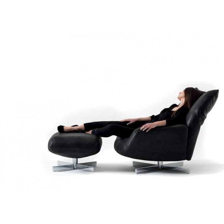 Edra Chiara armchair binafare black leather