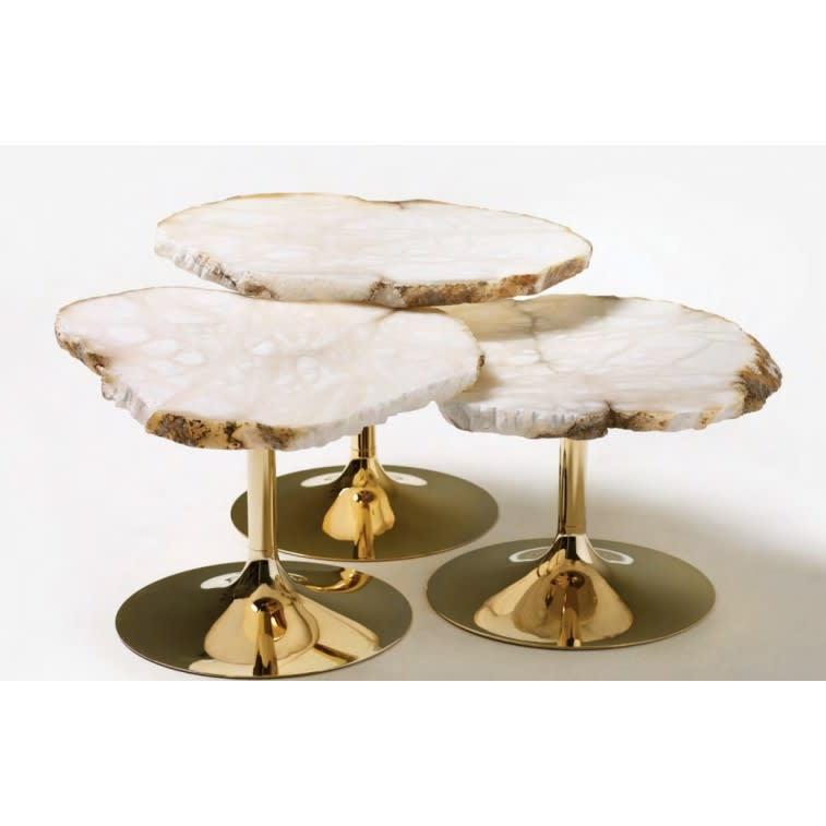 Tavolino Cicladi Edra set naturale base gold