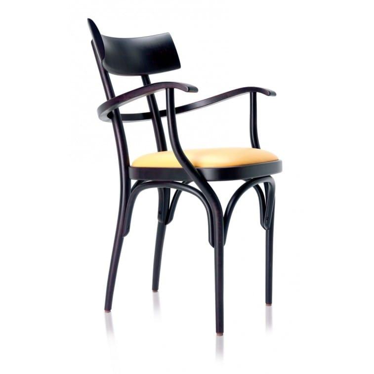 Sedia Czech con Braccioli - Sedile Imbottito-Gebruder Thonet Vienna