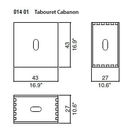 Cabanon (Chestnut) - 43x43xh.27 cm