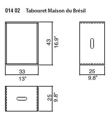 Maison Du Brésil (Oak) - 33x25xh.25 cm