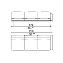 202 17 - 3 SEAT SOFA - width 238cm. depth 88 DX Armrest