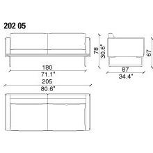 202 05 - 2 SEAT SOFA - width 205 cm. depth 88