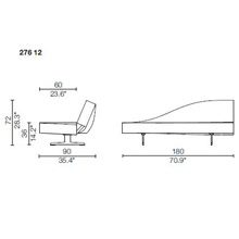 276 12 - Sofas Width 180cm. JOINABLE BETWEEN THEM, CHROME BASEMENT, ASYMMETRIC BACKREST - Right (Highest Peak Front Viewed)