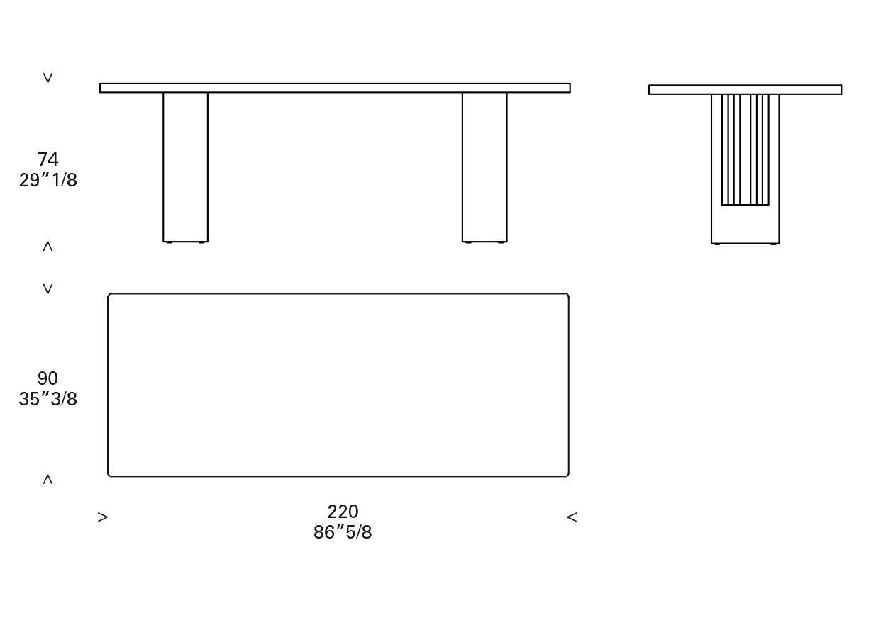 Rectangular Table (220 x 90 x h.74)