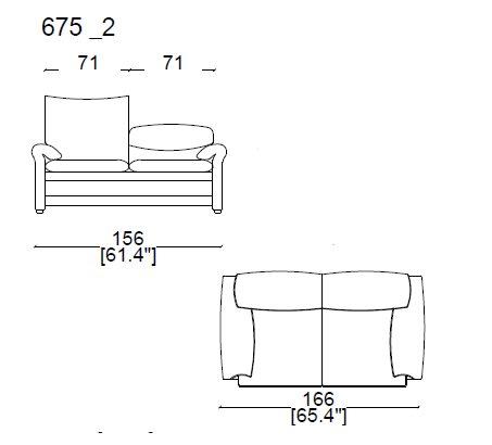 675 02 - 2 SEAT SOFA width 166 cm.