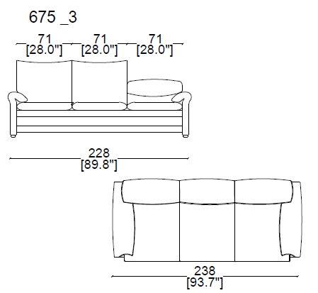 675 03 - 3 SEAT SOFA width 238 cm.