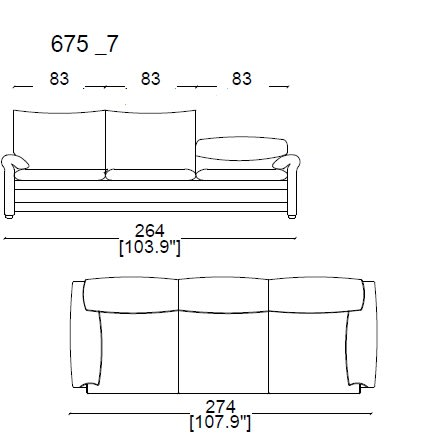 675 07 - 3 SEAT SOFA width 274 cm.