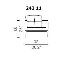 243 11 - ARMCHAIR - 1 PILLOW - Width 92 x Depth 95 cm.