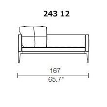 243 12 - 2 SEAT - 2 PILLOW - Width 167 x Depth 95 cm.