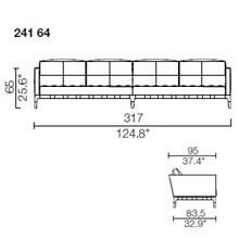 241 64 - 4 POSTI - Largh. 317 cm - Prof. 95 x h 65 cm