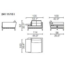 241 11 - FIXED HORIZONTAL ARMREST - Width 135 x dEpth 190 x 82 cm - Right Narrow Armrest - Left Horizontal Armrest