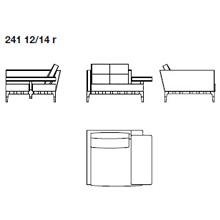 241 12 - FIXED HORIZONTAL ARMREST - Width 135 x dEpth 190 x 82 cm - Left Narrow Armrest - Right Horizontal Armrest