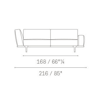 2 seater asymmetric armrests