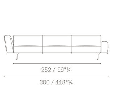 3 seater asymmetric armrests