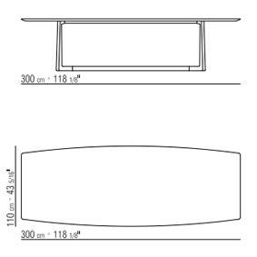 300x110xh.71 cm