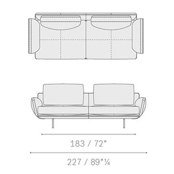 5645211 two-seater sofa 227x91x87