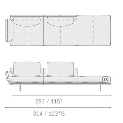 5645213 two-seater sofa with bench 314x91x87