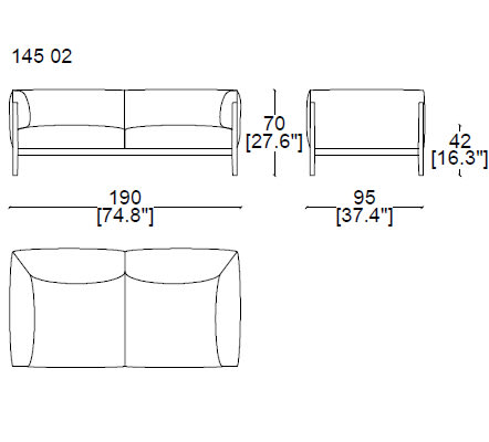 14502 two seater sofa 190x95 cm