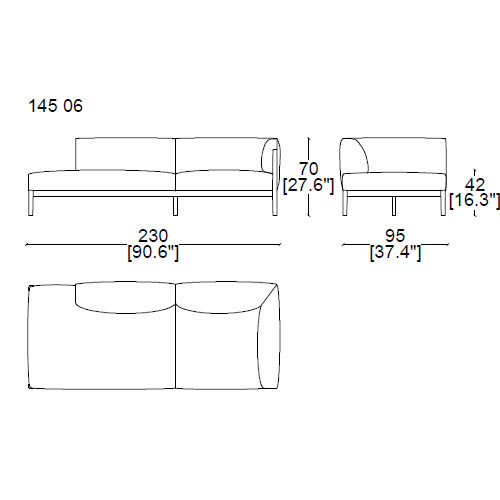 14506 two seater sofa with chaise longue 230x95 cm with one armrest on the right