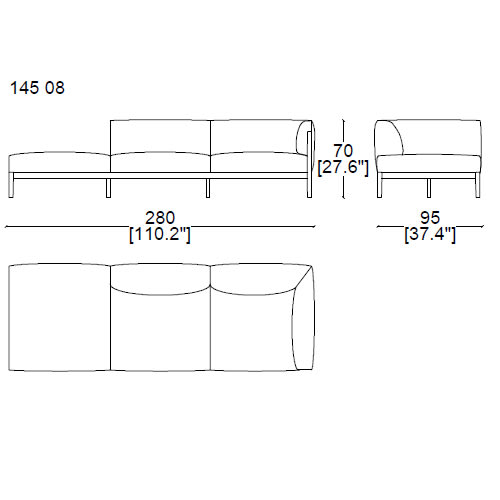 14508 three seater sofa with chaise longue 280x95 with one armrest on the right