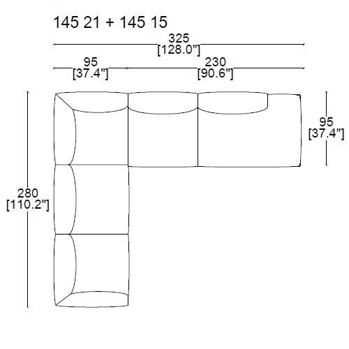 145 21+ 145 15 - 325x95x280 cm