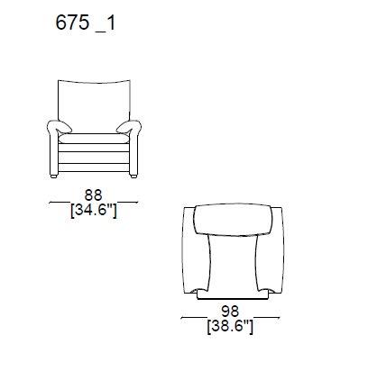675 A1 Armchair widht 98 cm