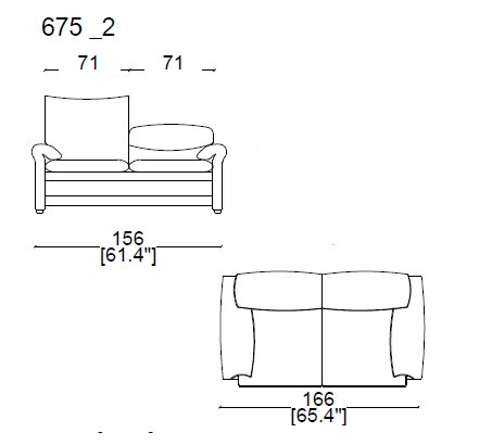 675 A2 2 Seater sofa widht 166 cm