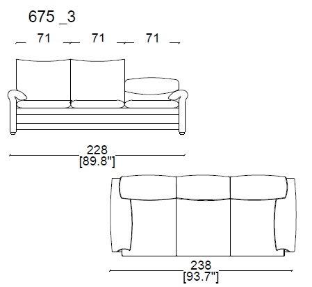 675 A3 3 Seater sofa widht 238 cm
