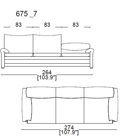 675 A7 3 Seater sofa widht 274 cm