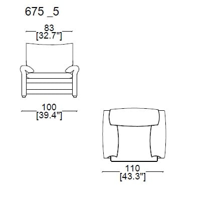 Armchair Maralunga 40-S (removable covers)widht 98 cm