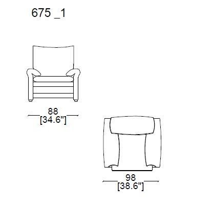 Armchair Maralunga 40-S (removable covers) widht 110 cm