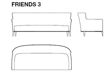Friends 3 - 221x94xH87 cm