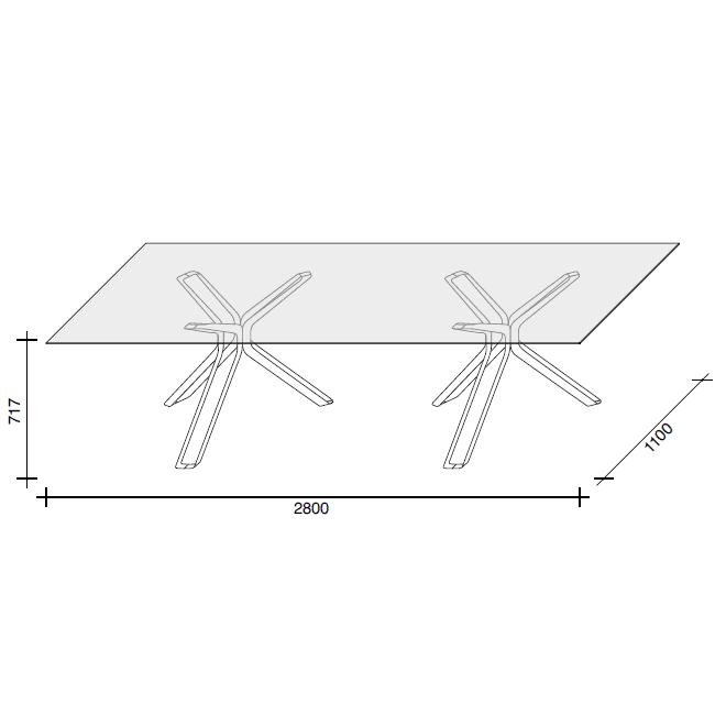 280x110cm Glass